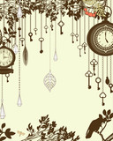 Clock and keys vintage vertical background