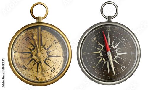 Leinwandbild Motiv brass antique compass collection
