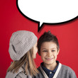 Girl talking to boy over red background with balloon.
