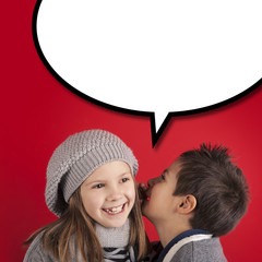 Boy talking to girl over red background with balloon.