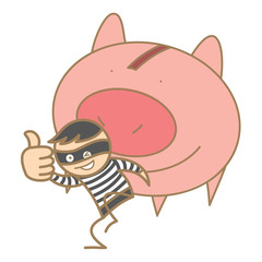 cartoon character of burglar holding money pig