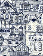 Hand-drawn background with old town