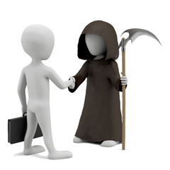 Shaking hands with death. 3d image. On a white background
