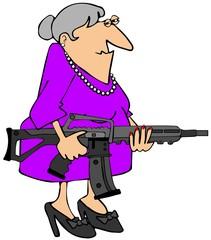 Grandma with an assault rifle