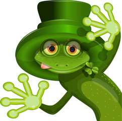 Green frog wearing a hat of Saint Patrick