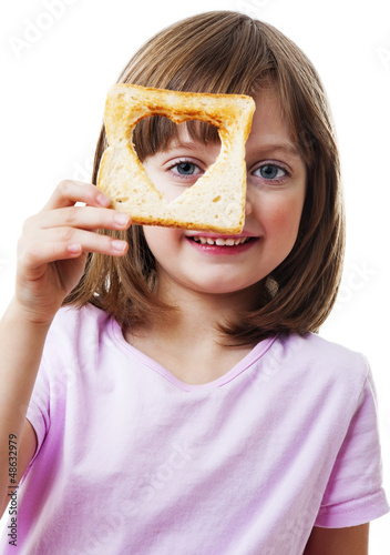 little girl holding  bread - white background