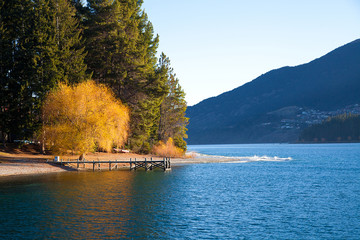 Beautiful scenery autumn at the Wakatipu lake Queenstown NZ