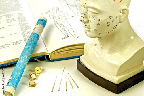 Leinwandbild Motiv Akupunkturnadeln mit Lehrbuch, Kopfmodell und Moxarolle