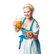 junge blonde Frau im Dirndl mit Masskrug und Brezn