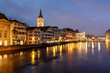 Illuminated Saint Peter Church and Houses along Limmat River Ban