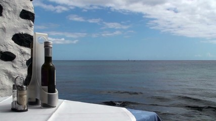 Salt and pepper shakers and red wine in glass bottle on sea back
