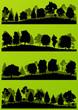 Forest trees silhouettes landscape illustration set