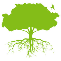 Tree with roots background ecology vector
