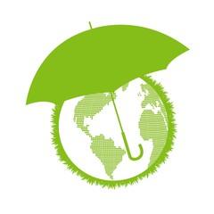 Umbrella protecting world ecology concept vector