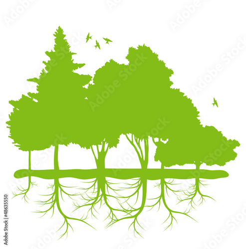 Trees with roots background ecology planet vector
