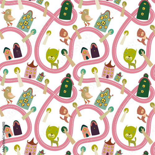 Foto Spatwand Op straat Road seamless pattern with houses and animals