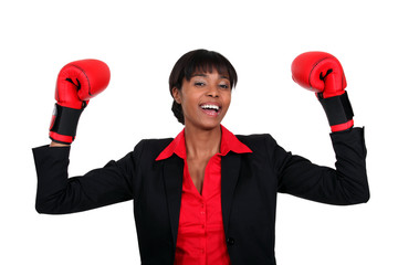 black lady with boxing gloves