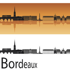 Bordeaux skyline in orange background