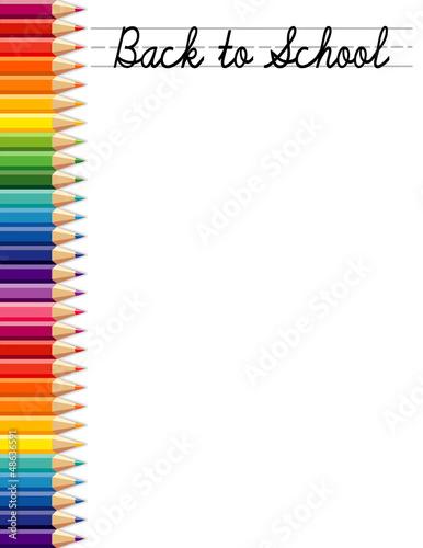 Back to School, colored pencils, copy space, daycare, preschool