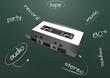 audio cassette chalkboard