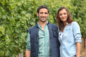 Couple standing amidst the vines