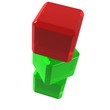 Red cube on green ones