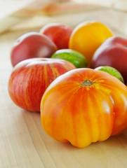 Heirloom tomatoes and basil