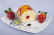 Sponge roll with fruits