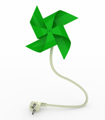 green pinwheel on energy plug cable