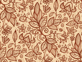 Beige vector flowers and leaves seamless pattern