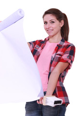 Young woman holding wallpaper and glue brush