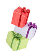 Three gift boxes with ribbon and bow