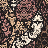 Black lace vector fabric seamless pattern with lines and waves - 48640526