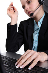call-center worker with laptop