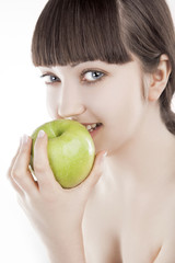 Natural beauty - beautiful woman with green apple - (SERIES)