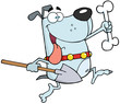 Running Gray Dog With A Bone And Shovel