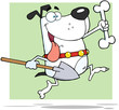 Happy Running White Dog With A Bone And Shovel