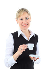 business woman with cup of coffee, white background