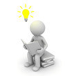 3d man sitting and reading a book with idea bulb on white