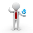 3d business man showing thumbs up with globe in his hand