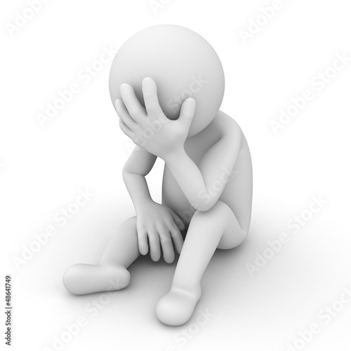 Depressed 3d man sitting over white background