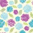 Vector textured painted flower seamless pattern background with