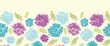 Vector textured painted flower horizontal seamless pattern