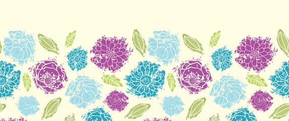 Vector textured painted flower horizontal seamless pattern