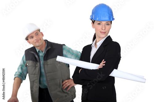 Construction worker flirting