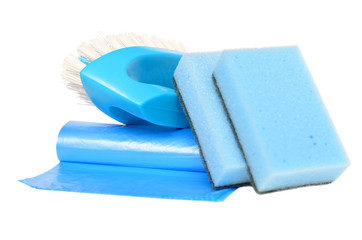 Brush, garbage bags and sponges for cleaning