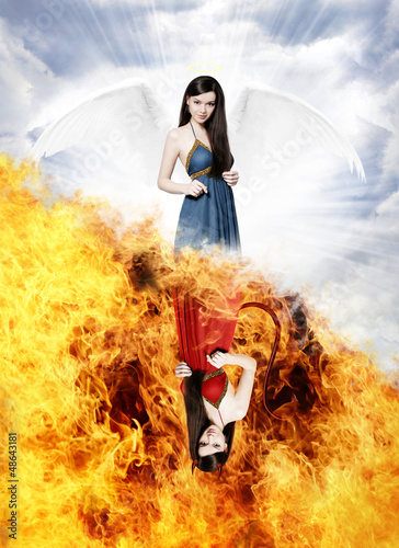 canvas print picture Gorgeous angel and sexy devil