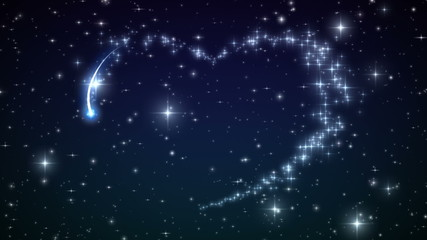 Heart made of twinkling Stars in the Beautiful night sky.