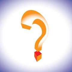 Orange question mark symbol in 3d representing concept of questi