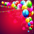 Colorful birthday balloons on red background
